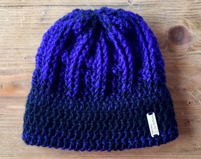Artemis Toque in Purple/Black, crochet hat, crochet beanie, crochet hat, ombre