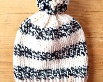Classic Knit Hat in Black & White Stripes, knit hat, knit beanie, knit cap