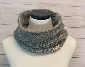 Faux Knit Cowl in Grey