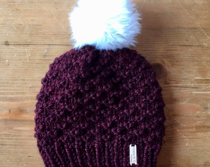 Bristlecone Beanie in Cranberry, knit beanie, knit hat, knit cap