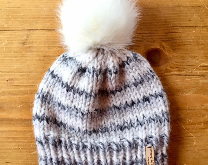Classic Knit Hat in Gray & White Stripes, knit hat, knit beanie, knit cap