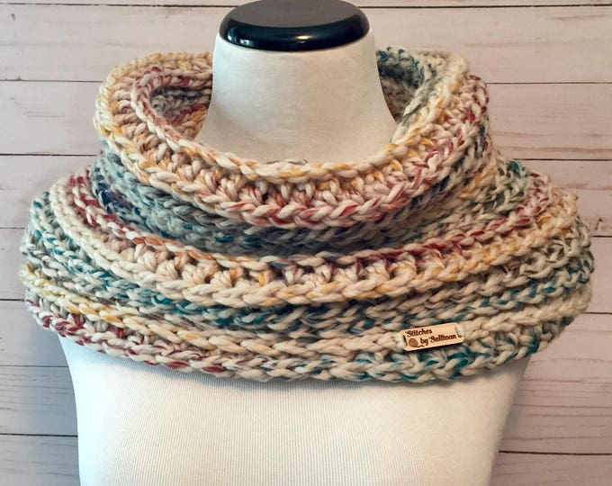 Chunky Faux Knit Cowl in Hudson Bay