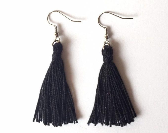 Tassel Earrings in Black