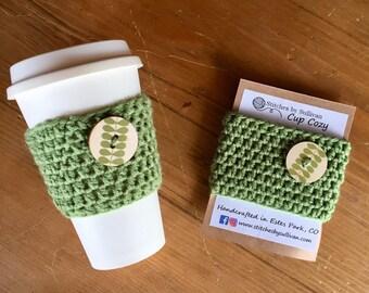 Green Leaf Coffee Cozy, crochet coffee cozy, crochet cup cozy, crochet mug cozy, coffee cozy, cup cozy, mug cozy