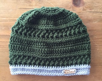 Northwoods Beanie in Olive/Silver, crochet beanie, crochet hat, crochet cap, beanie, hat, cap