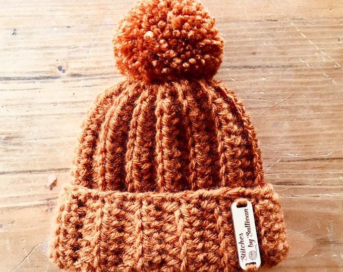 Jackson Beanie in Pumpkin, newborn, baby beanie, baby hat
