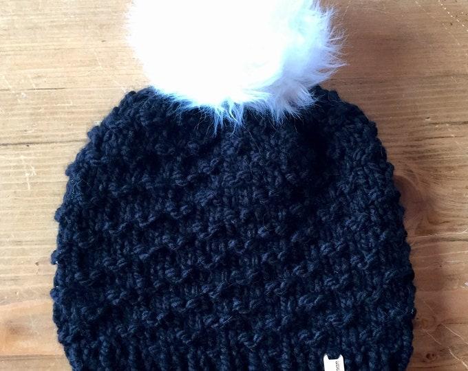 Bristlecone Beanie in Black, knit beanie, knit hat, knit cap