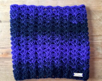 Autumn River Cowl in Bulky Black & Purple, crochet cowl, crochet scarf, cowl, scarf, neckwarmer