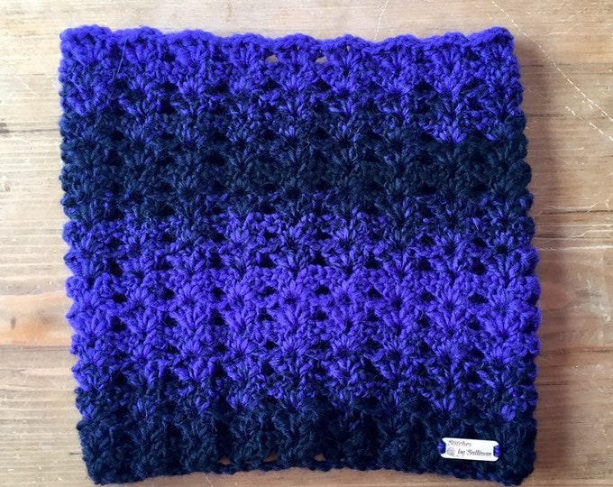 Autumn River Cowl in Bulky Black & Purple, crochet cowl, crochet scarf, cowl, scarf, neckwarmer
