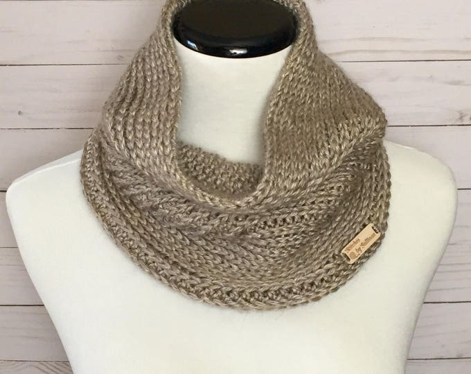 Faux Knit Cowl in Wheat