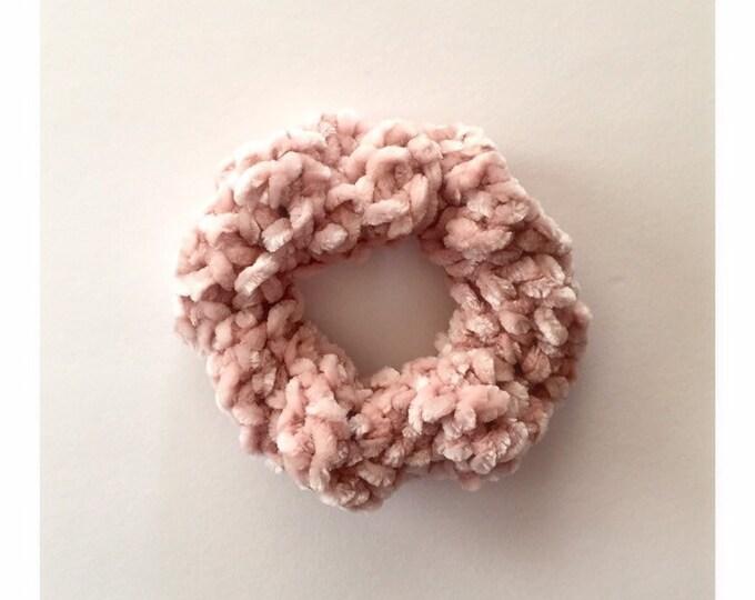 Velvet Scrunchie in Blush, hairtie, ponytail holder