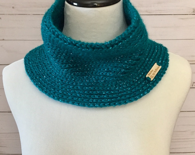 Faux Knit Cowl in Metallic Teal