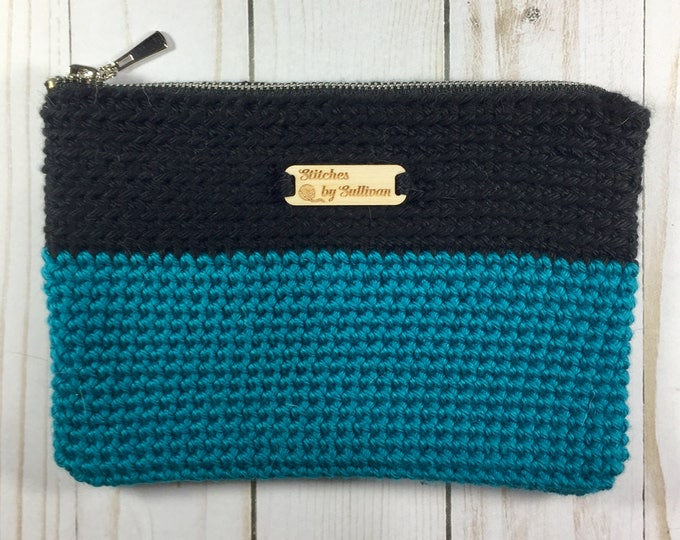 Zippered Bag in Black and Teal
