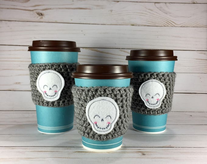 Scary Cute Skull Coffee Cozy
