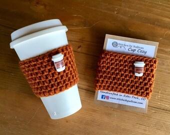 Pumpkin Coffee Cozy, crochet coffee cozy, crochet cup cozy, crochet mug cozy, coffee cozy, cup cozy, mug cozy