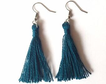 Tassel Earrings in Teal