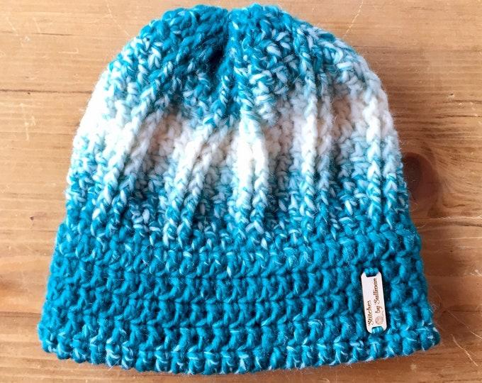 Artemis Toque in Cream/Teal, crochet hat, crochet beanie, crochet hat, ombre