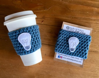Light Me Up Cup Cozy, crochet coffee cozy, crochet cup cozy, crochet mug cozy, heart coffee cozy, coffee cozy, cup cozy, mug cozy