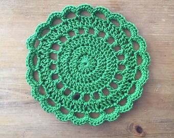 Crochet Trivet in Green, hotpad, pot holder