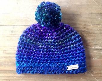Micah Beanie in Kaleidoscope , 1-3 years, toddler, baby hat, baby beanie, crochet hat, crochet beanie, pompom hat