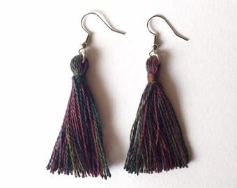 Tassel Earrings in Peacock