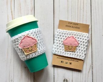 Sweet on You Coffee Cozy, crochet coffee cozy, crochet cup cozy, crochet mug cozy, cupcake coffee cozy, coffee cozy, cup cozy, mug cozy