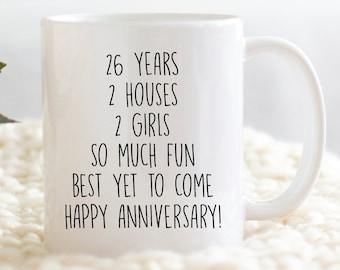 26 year anniversary gift personalized anniversary gift twenty six years 26th anniversary gift wedding anniversary stemless wine glass