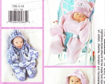 Sewing Pattern Baby Newborn Bunting with Hood Hooded Sleeping Bag Pattern and Hat Beanie Easy Sewing Butterick 5091 Australian Seller