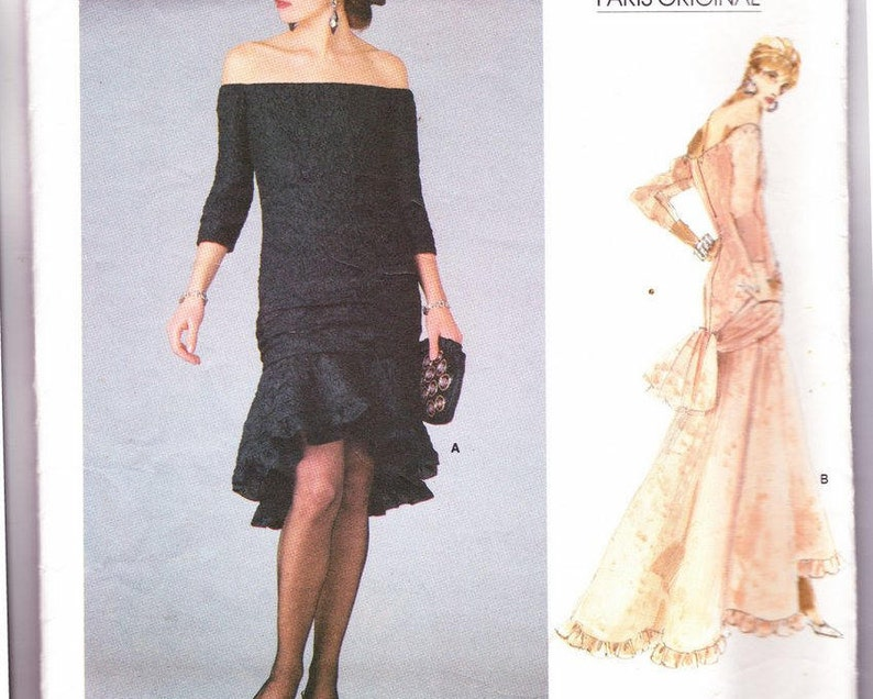 b66c8c37bd1 Off the Shoulder High Low Dress Sewing Pattern Yves Saint | Etsy