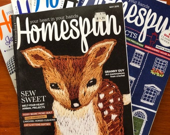 Australian Homespun Magazine.  Choose the Issue you want. Slow Stitching,Patchwork, Applique, Embroidery, Crochet, Knitting, Toymaking.
