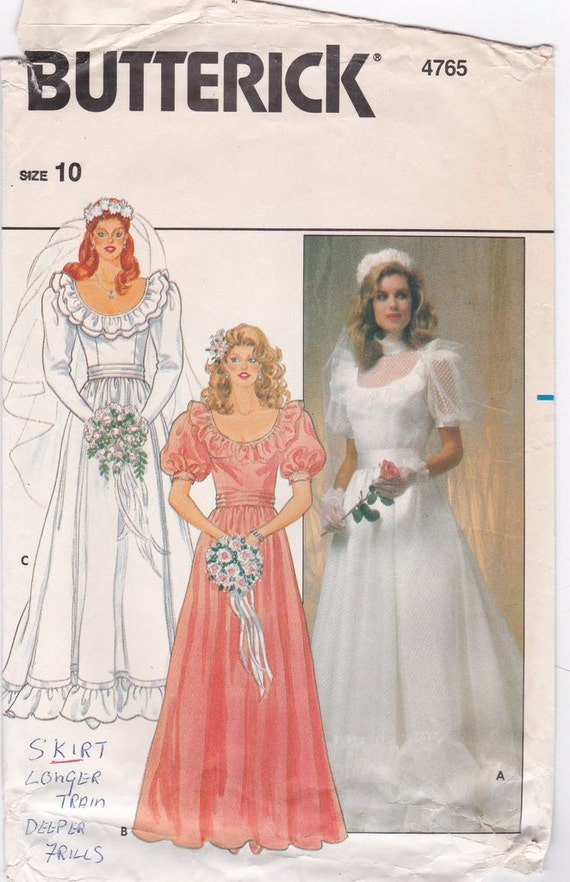 Sewing Pattern Wedding Gown Bridesmaid Dress Sewing Patterns 1980s ...
