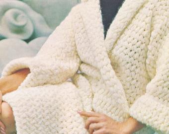 1970's Crochet Coat Pattern for Women, Digital Download PDF Pattern, 70s Coat DIY Crochet Pattern, Long Sleeve Winter Fashion