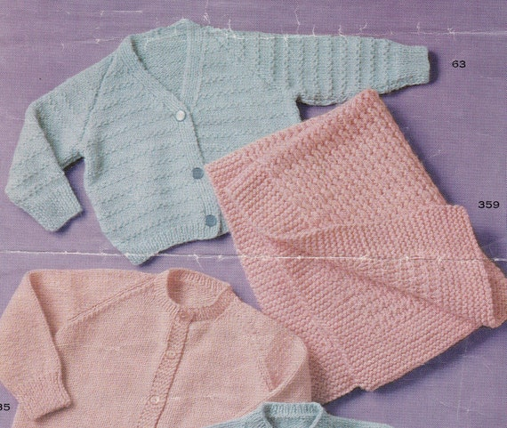 """Vintage Knitting Pattern Pretty Baby Lacy Cardigan 18-22/"""" DK Magazine extract"""
