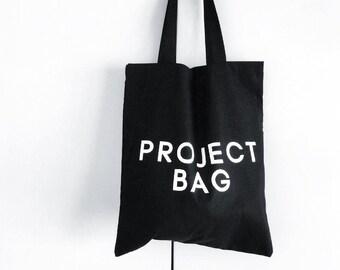 BOLSA NEGRA project bag -- black tote bag, black cotton bag, cotton tote, printed tote bag, black and white shopper, gifts for knitters