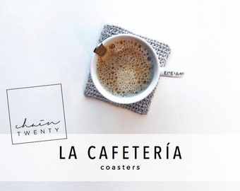KNITTING PATTERN La Cafetería coasters -- Coffee coasters, mug holders, simple knit pattern, gifts for knitters, home decor, easy knitting