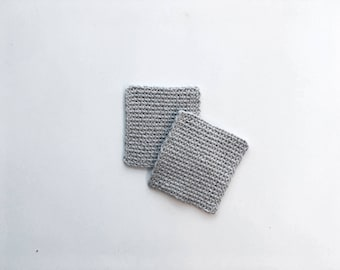 LA CAFETERÍA set of grey coasters -- knitted coaster, mug holder, bar accessories, modern home deco, gifts for coffee lovers, tea lovers