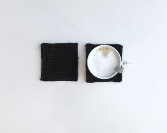 LA CAFETERÍA set of black coasters -- knitted coaster, mug holder, bar accessories, modern home deco, gifts for coffee lovers, tea lovers