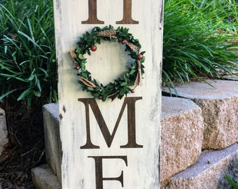 HOME Vertical Rustic Wood Sign with Wreath