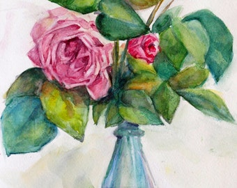 Tea rose art Pink rose painting Rose watercolour Tiny rose art Rose wall art Rose painting Rose vase art Blue pink art PaintingOnlineStore