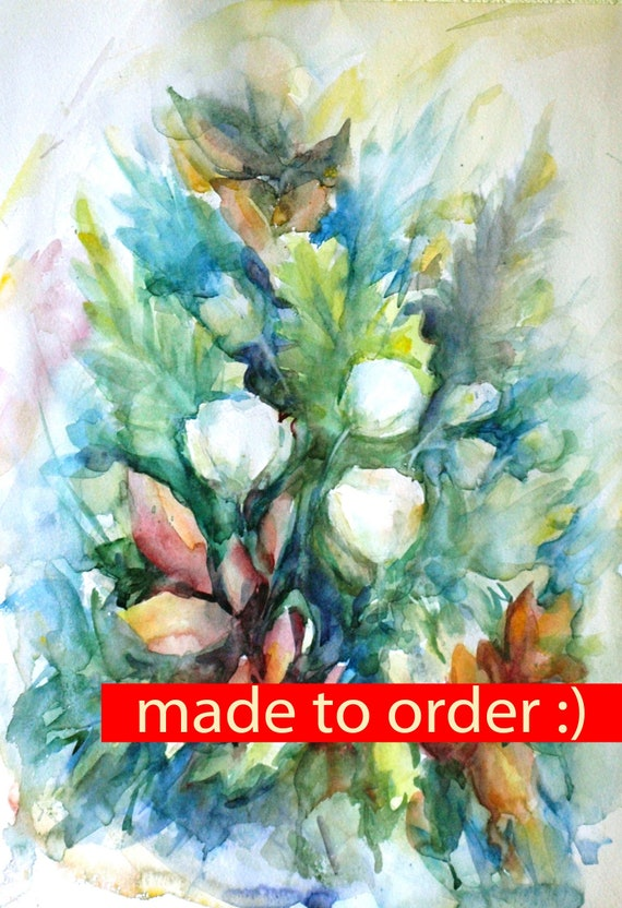 Abstract Watercolor White Abstract Green Watercolor Leaves Art Green Leaves Painting Watercolor Decor Flowers Spring Art Paintingonlinestore