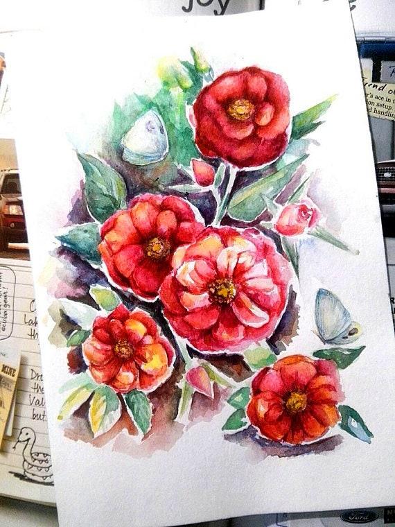 Watercolor Rose Painting Rose Flowers Original Art Small Watercolor Rose Art Red Rose Watercolor Wall Art Red Roses Original Painting