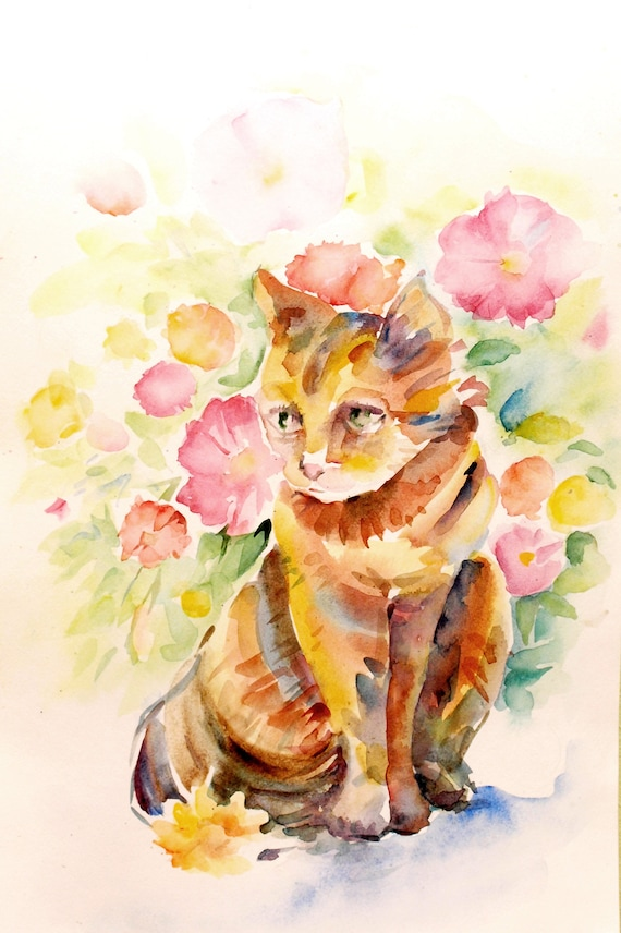 drawing original watercolor wall art Cat wall art watercolor painting
