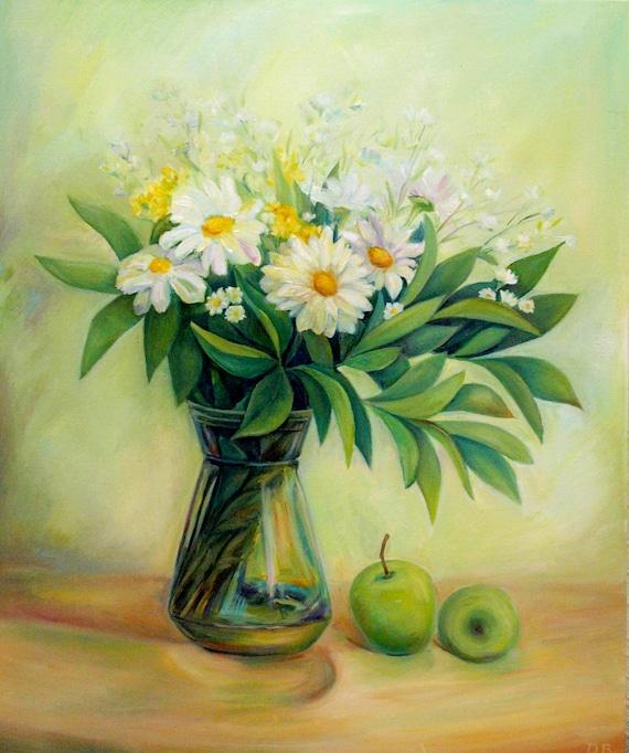 Fiori Bianchi Dipinti.White Flower Painting White Flowers On Canvas White Flowers Etsy