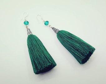 Green tassel earrings with silver hooks