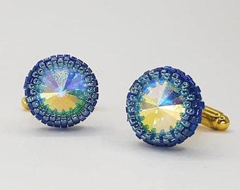 Blue glass crystal cuff links