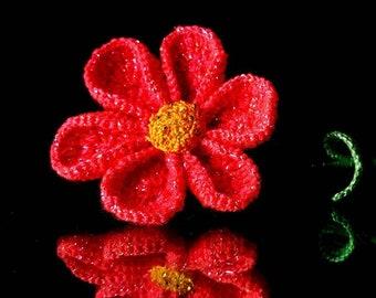 Crocheted Red flower