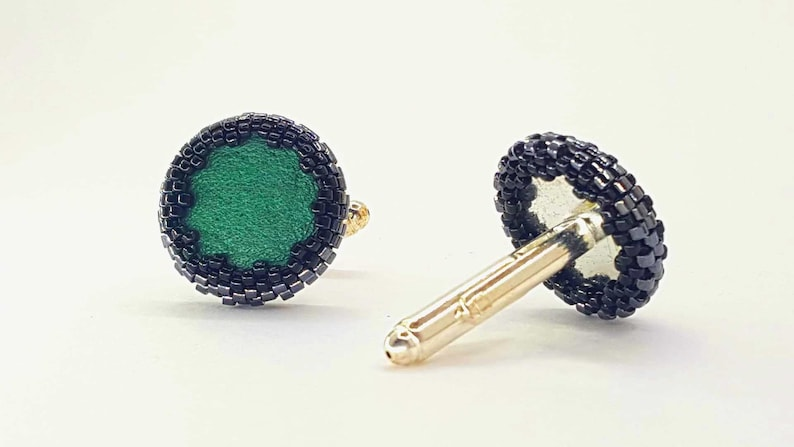 natural leather filled Green hipster style cufflinks