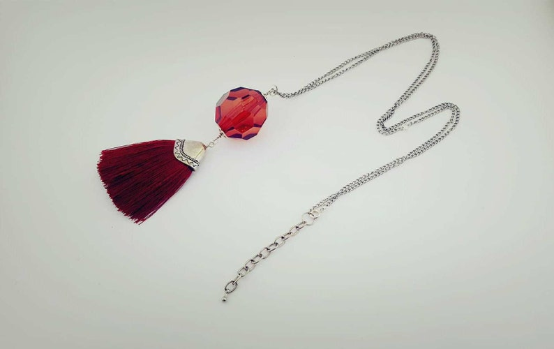 Red Tassel necklace with large red pendant and silky tassel