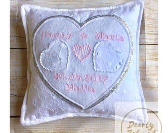 Personalised Wedding Ring Pillow, Wedding Ring Cushion, Ring Pillow, Ring Bearer