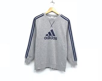 b90334b75bb9c Adidas crewneck Sweatshirt jumper big logo spell out pullover | Etsy